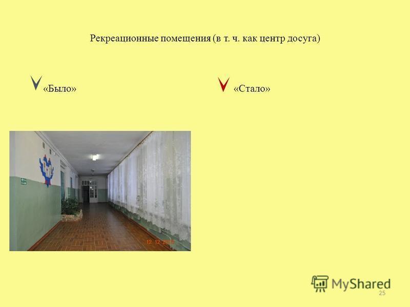 Рекреационные помещения (в т. ч. как центр досуга) «Было» «Стало» 25