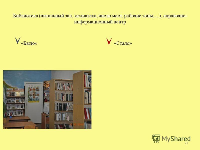 Библиотека (читальный зал, медиатека, число мест, рабочие зоны,…), справочно- информационный центр «Было» «Стало» 27