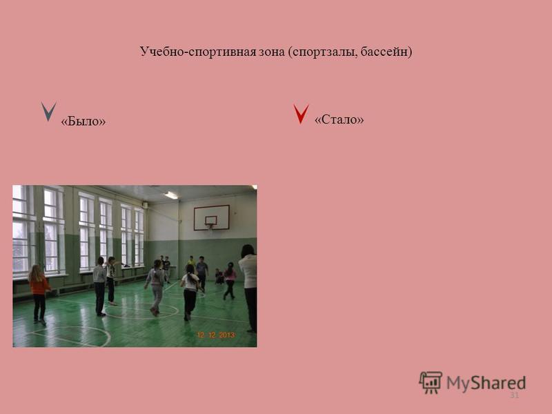 Учебно-спортивная зона (спортзалы, бассейн) «Было» «Стало» 31