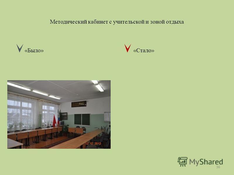 Методический кабинет с учительской и зоной отдыха «Было» «Стало» 36