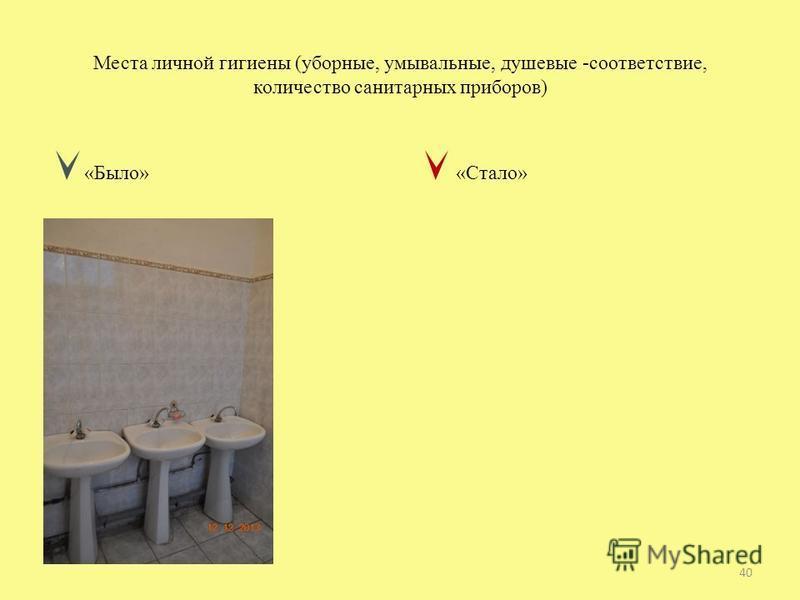 Места личной гигиены (уборные, умывальные, душевые -соответствие, количество санитарных приборов) «Было» «Стало» 40