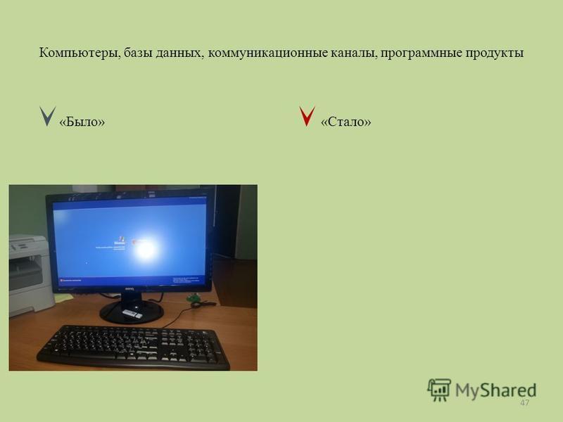 Компьютеры, базы данных, коммуникационные каналы, программные продукты «Было» «Стало» 47