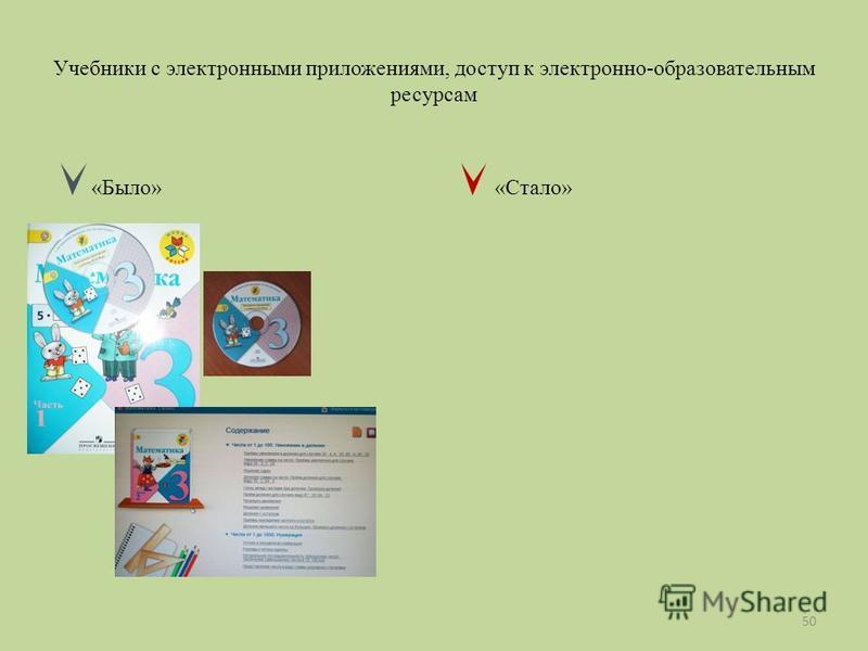 Учебники с электронными приложениями, доступ к электронно-образовательным ресурсам «Было» «Стало» 50