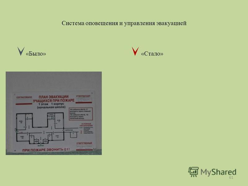 Система оповещения и управления эвакуацией «Было» «Стало» 61