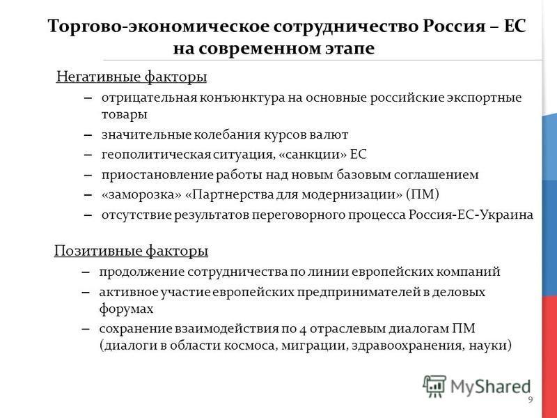 9 Торгово-экономическое сотрудничество Россия – ЕС на современном этапе Негативные факторы – отрицательная конъюнктура на основные российские экспортные товары – значительные колебания курсов валют – геополитическая ситуация, «санкции» ЕС – приостано