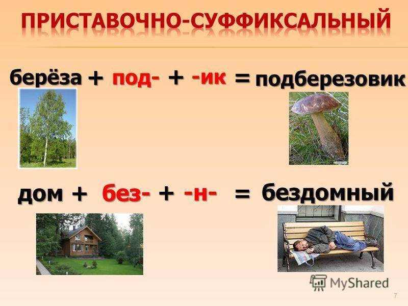 7 берёза под- += подберезовик + -ик дом без-+= бездомный +-н-