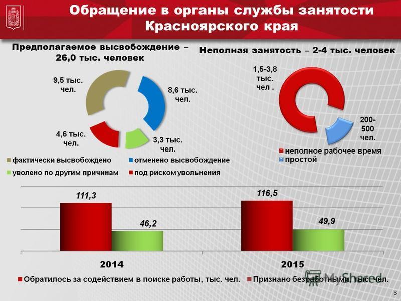 Обращение в органы службы занятости Красноярского края Неполная занятость – 2-4 тыс. человек Предполагаемое высвобождение – 26,0 тыс. человек 3