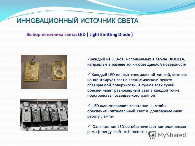 ИННОВАЦИОННЫЙ ИСТОЧНИК СВЕТА ИННОВАЦИОННЫЙ ИСТОЧНИК СВЕТА Выбор источника света: LED ( Light Emitting Diode ) Каждый из LED-ов, используемых в лампе DIODELA, направлен в разные точки освещаемой поверхности Каждый LED покрыт специальной линзой, котора