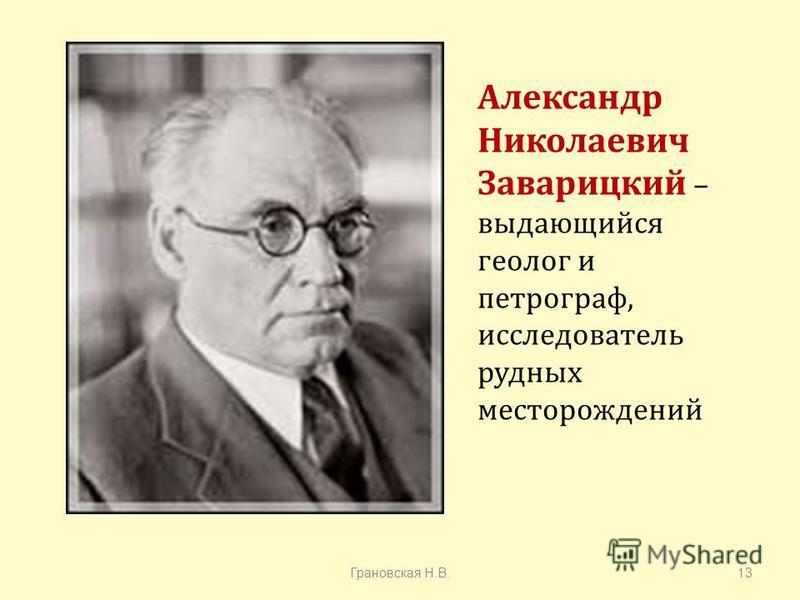 Александр Николаевич Заварицкий – выдающийся геолог и петрограф, исследователь рудных месторождений Грановская Н. В.13