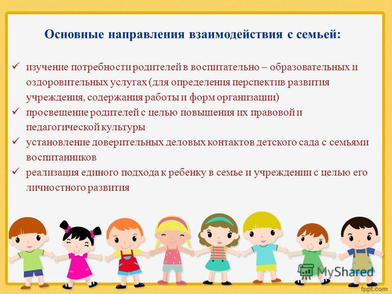 Основные направления взаимодействия с семьей: изучение потребности родителей в воспитательно – образовательных и оздоровительных услугах (для определения перспектив развития учреждения, содержания работы и форм организации) просвещение родителей с це