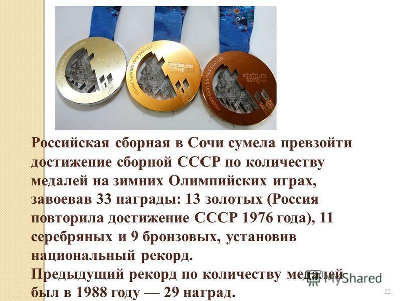 22 Российская сборная в Сочи сумела превзойти достижение сборной СССР по количеству медалей на зимних Олимпийских играх, завоевав 33 награды: 13 золотых (Россия повторила достижение СССР 1976 года), 11 серебряных и 9 бронзовых, установив национальный