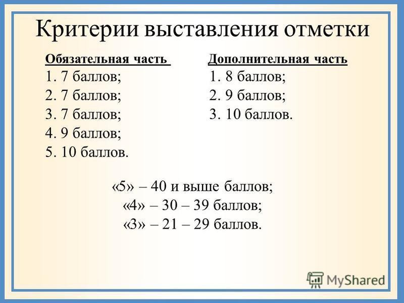 Критерии выставления отметки Обязательная часть Дополнительная часть 1. 7 баллов; 1. 8 баллов; 2. 7 баллов; 2. 9 баллов; 3. 7 баллов; 3. 10 баллов. 4. 9 баллов; 5. 10 баллов. «5» – 40 и выше баллов; «4» – 30 – 39 баллов; «3» – 21 – 29 баллов.