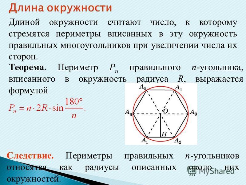 Длиной окружности считают число, к которому стремятся периметры вписанных в эту окружность правильных многоугольников при увеличении числа их сторон. Теорема. Периметр P n правильного n-угольника, вписанного в окружность радиуса R, выражается формуло