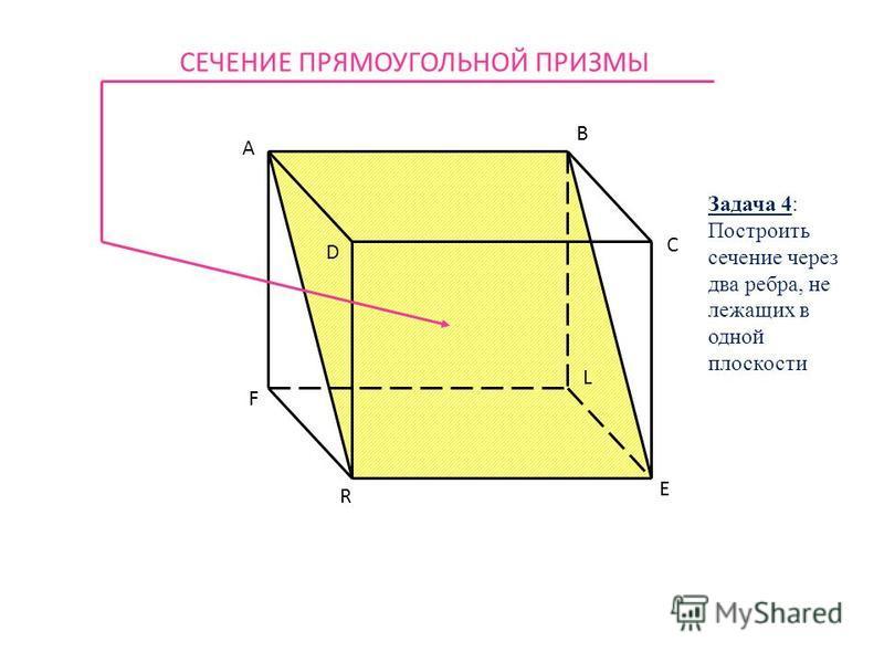 A B C D F R E L СЕЧЕНИЕ ПРЯМОУГОЛЬНОЙ ПРИЗМЫ Задача 4: Построить сечение через два ребра, не лежащих в одной плоскости