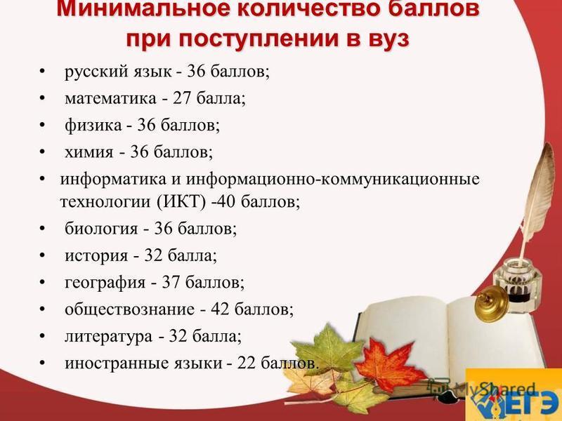 Минимальное количество баллов при поступлении в вуз русский язык - 36 баллов; математика - 27 балла; физика - 36 баллов; химия - 36 баллов; информатика и информационно-коммуникационные технологии (ИКТ) -40 баллов; биология - 36 баллов; история - 32 б