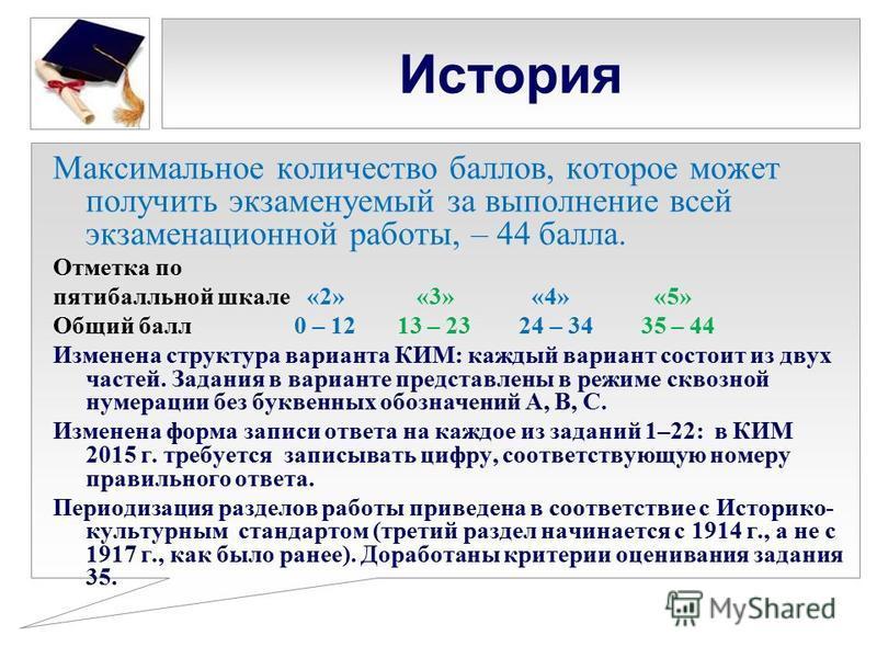 История Максимальное количество баллов, которое может получить экзаменуемый за выполнение всей экзаменационной работы, – 44 балла. Отметка по пятибалльной шкале «2» «3» «4» «5» Общий балл 0 – 12 13 – 23 24 – 34 35 – 44 Изменена структура варианта КИМ