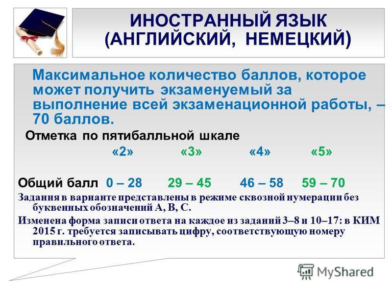 ИНОСТРАННЫЙ ЯЗЫК (АНГЛИЙСКИЙ, НЕМЕЦКИЙ ) Максимальное количество баллов, которое может получить экзаменуемый за выполнение всей экзаменационной работы, – 70 баллов. Отметка по пятибалльной шкале «2» «3» «4» «5» Общий балл 0 – 28 29 – 45 46 – 58 59 –