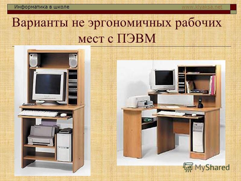 Информатика в школе www.klyaksa.netwww.klyaksa.net Варианты не эргономичных рабочих мест с ПЭВМ