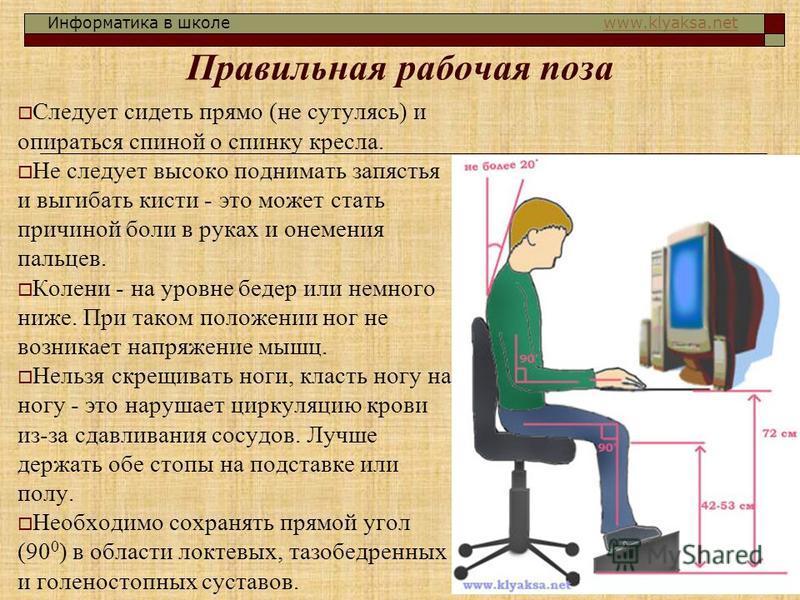 Информатика в школе www.klyaksa.netwww.klyaksa.net Правильная рабочая поза Следует сидеть прямо (не сутулясь) и опираться спиной о спинку кресла. Не следует высоко поднимать запястья и выгибать кисти - это может стать причиной боли в руках и онемения