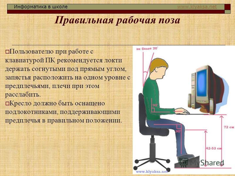 Информатика в школе www.klyaksa.netwww.klyaksa.net Правильная рабочая поза Пользователю при работе с клавиатурой ПК рекомендуется локти держать согнутыми под прямым углом, запястья расположить на одном уровне с предплечьями, плечи при этом расслабить