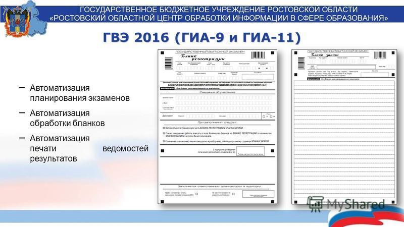 ГВЭ 2016 (ГИА-9 и ГИА-11) Автоматизация планирования экзаменов Автоматизация обработки бланков Автоматизация печати ведомостей результатов