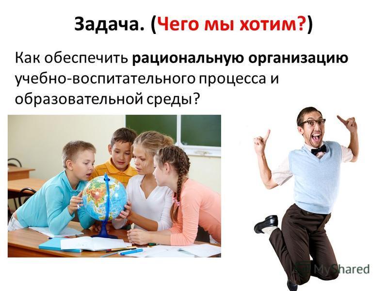 Задача. (Чего мы хотим?) Как обеспечить рациональную организацию учебно-воспитательного процесса и образовательной среды?