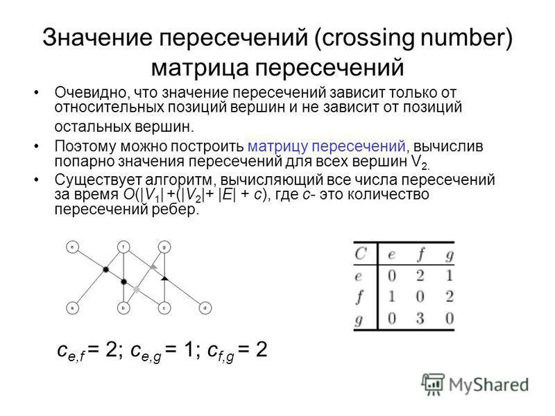 Значение пересечений (crossing number) матрица пересечений Очевидно, что значение пересечений зависит только от относительных позиций вершин и не зависит от позиций остальных вершин. Поэтому можно построить матрицу пересечений, вычислив попарно значе