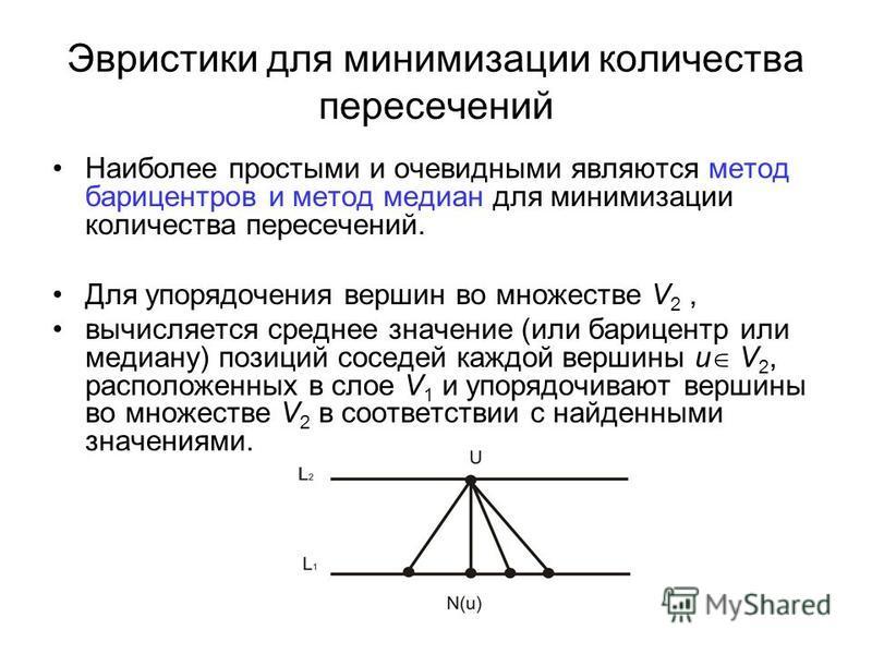 Эвристики для минимизации количества пересечений Наиболее простыми и очевидными являются метод барицентров и метод медиан для минимизации количества пересечений. Для упорядочения вершин во множестве V 2, вычисляется среднее значение (или барицентр ил