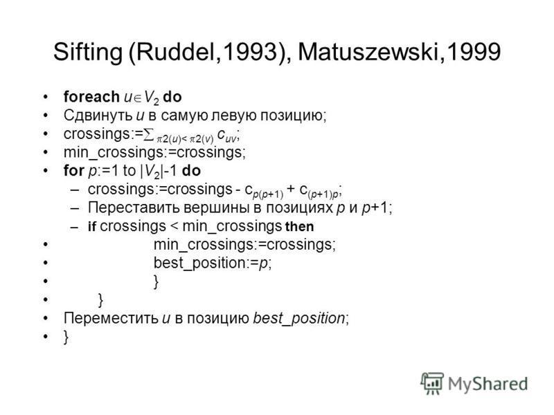 Sifting (Ruddel,1993), Matuszewski,1999 foreach u V 2 do Сдвинуть u в самую левую позицию; crossings:= 2(u)< 2(v) c uv ; min_crossings:=crossings; for p:=1 to |V 2 |-1 do –crossings:=crossings - c p(p+1) + c (p+1)p ; –Переставить вершины в позициях p