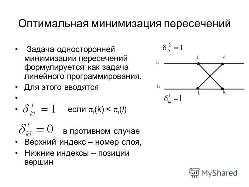 Оптимальная минимизация пересечений Задача односторонней минимизации пересечений формулируется как задача линейного программирования. Для этого вводятся если i (k) < i (l) в противном случае Верхний индекс – номер слоя, Нижние индексы – позиции верши