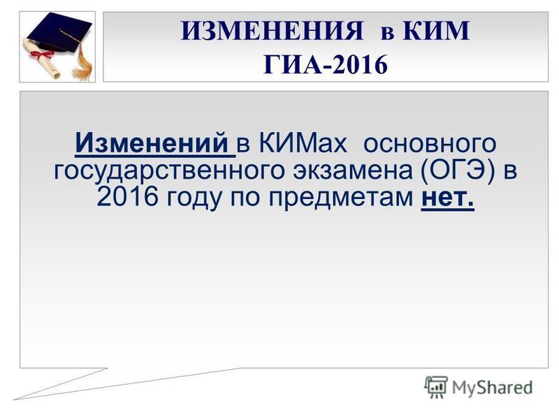 ИЗМЕНЕНИЯ в КИМ ГИА-2016 Изменений в КИМах основного государственного экзамена (ОГЭ) в 2016 году по предметам нет.