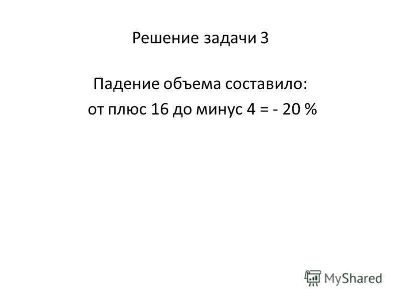 Решение задачи 3 Падение объема составило: от плюс 16 до минус 4 = - 20 %