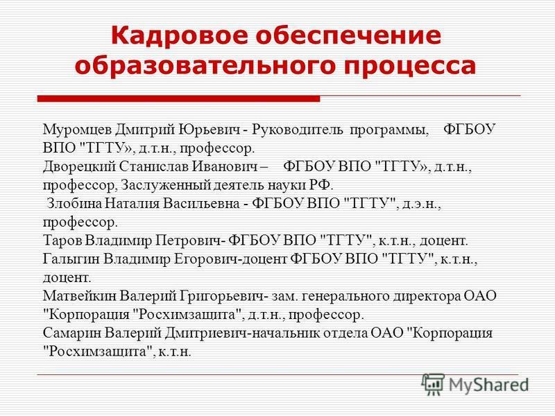 Кадровое обеспечение образовательного процесса Муромцев Дмитрий Юрьевич - Руководитель программы, ФГБОУ ВПО