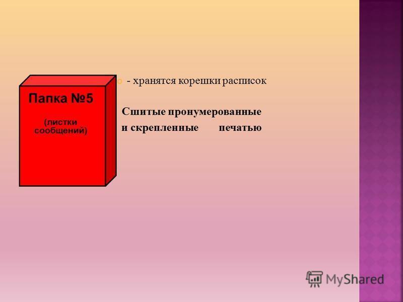 - хранятся корешки расписок Сшитые пронумерованные и скрепленные печатью Папка 5 (листки сообщений)