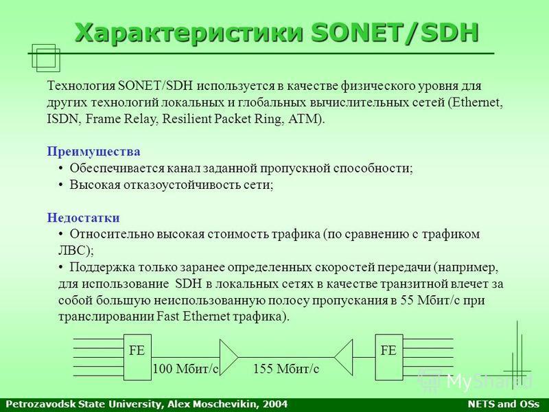 Petrozavodsk State University, Alex Moschevikin, 2004NETS and OSs Характеристики SONET/SDH Технология SONET/SDH используется в качестве физического уровня для других технологий локальных и глобальных вычислительных сетей (Ethernet, ISDN, Frame Relay,
