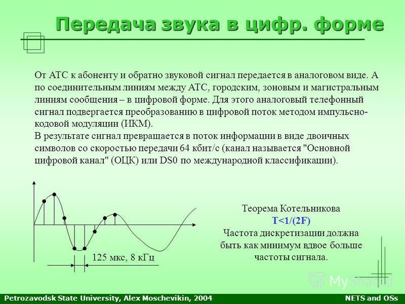 Petrozavodsk State University, Alex Moschevikin, 2004NETS and OSs Передача звука в цифр. форме От АТС к абоненту и обратно звуковой сигнал передается в аналоговом виде. А по соединительным линиям между АТС, городским, зоновым и магистральным линиям с