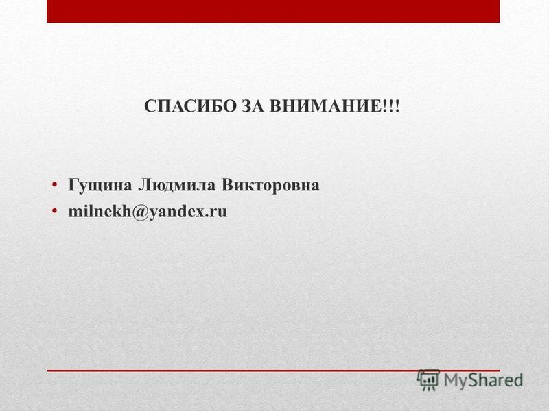 СПАСИБО ЗА ВНИМАНИЕ!!! Гущина Людмила Викторовна milnekh@yandex.ru