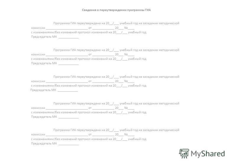 Сведения опере утверждении программы ГИА Программа ГИА пере утверждена на 20__/___ учебный год на заседании методической комиссии _________________________ от _____________ 20___ ____ с изменениями/без изменений протокол изменений на 20___/___ учебны