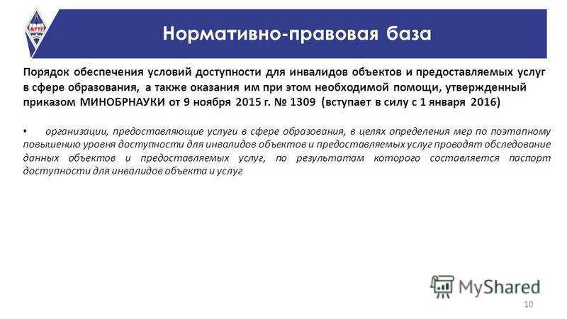 Порядок обеспечения условий доступности для инвалидов объектов и предоставляемых услуг в сфере образования, а также оказания им при этом необходимой помощи, утвержденный приказом МИНОБРНАУКИ от 9 ноября 2015 г. 1309 (вступает в силу с 1 января 2016)