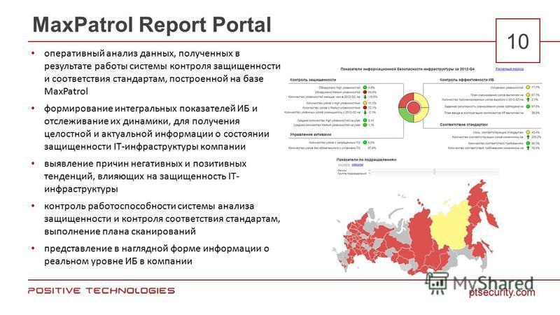 ptsecurity.com 10 MaxPatrol Report Portal оперативный анализ данных, полученных в результате работы системы контроля защищенности и соответствия стандартам, построенной на базе MaxPatrol формирование интегральных показателей ИБ и отслеживание их дина