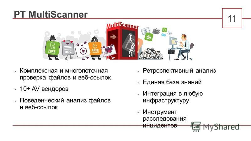 PT MultiScanner 11 Комплексная и многопоточная проверка файлов и веб-ссылок 10+ AV вендоров Поведенческий анализ файлов и веб-ссылок Ретроспективный анализ Единая база знаний Интеграция в любую инфраструктуру Инструмент расследования инцидентов