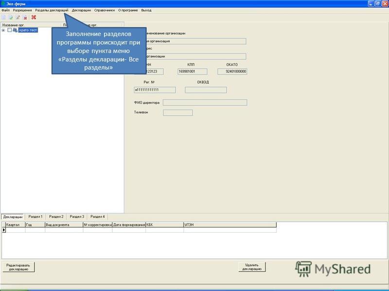 Заполнение разделов программы происходит при выборе пункта меню «Разделы декларации- Все разделы»