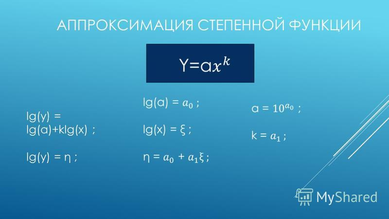 АППРОКСИМАЦИЯ СТЕПЕННОЙ ФУНКЦИИ lg(y) = lg(a)+klg(x) ; lg(y) = η ;