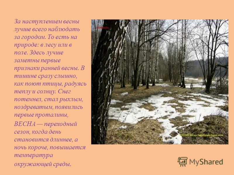 За наступлением весны лучше всего наблюдать за городом. То есть на природе: в лесу или в поле. Здесь лучше заметны первые признаки ранней весны. В тишине сразу слышно, как поют птицы, радуясь теплу и солнцу. Снег потемнел, стал рыхлым, ноздреватым, п