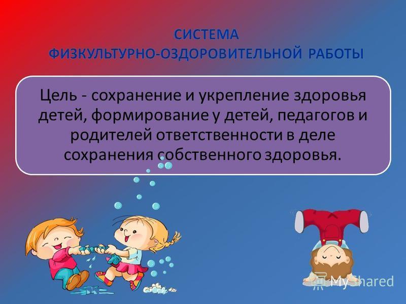 Цель - сохранение и укрепление здоровья детей, формирование у детей, педагогов и родителей ответственности в деле сохранения собственного здоровья.
