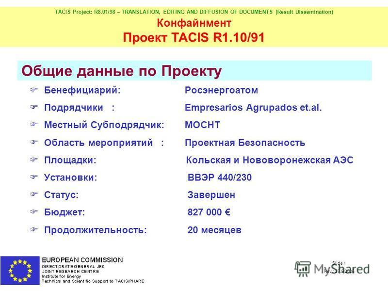 TACIS Project: R8.01/98 – TRANSLATION, EDITING AND DIFFUSION OF DOCUMENTS (Result Dissemination) Конфайнмент Проект TACIS R1.10/91 Slide 1 Rev.: 27.9.2005 Бенефициарий:Росэнергоатом Подрядчики :Еmpresarios Agrupados et.al. Местный Субподрядчик: MOCHT