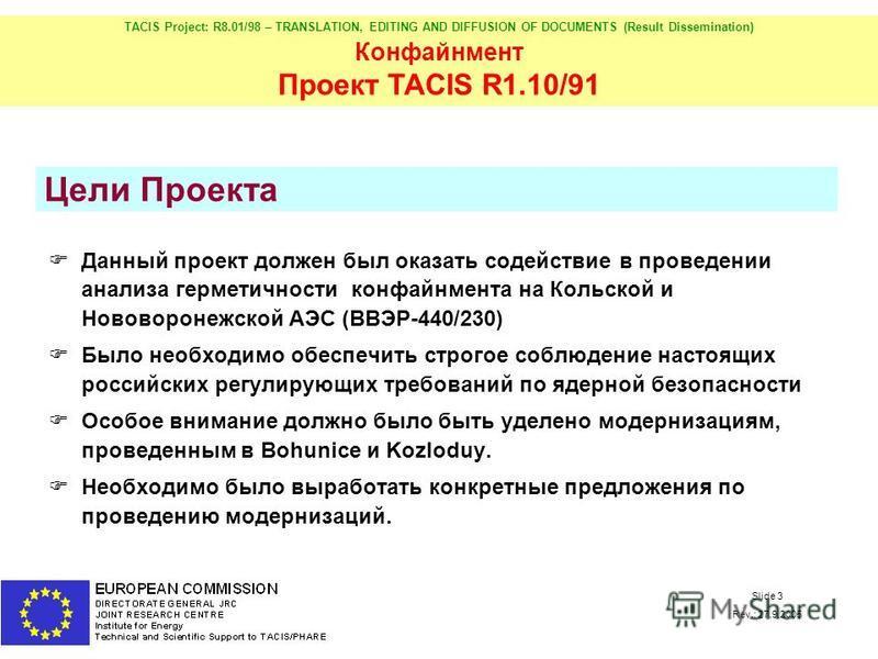 TACIS Project: R8.01/98 – TRANSLATION, EDITING AND DIFFUSION OF DOCUMENTS (Result Dissemination) Конфайнмент Проект TACIS R1.10/91 Slide 3 Rev.: 27.9.2005 Цели Проекта Данный проект должен был оказать содействие в проведении анализа герметичности кон