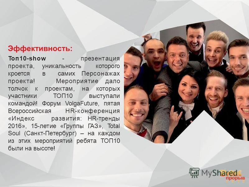 Эффективность: Топ 10-show - презентация проекта, уникальность которого кроется в самих Персонажах проекта! Мероприятие дало толчок к проектам, на которых участники ТОП10 выступали командой! Форум VolgaFuture, пятая Всероссийская HR-конференция «Инде