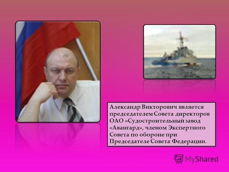 Александр Викторович является председателем Совета директоров ОАО «Судостроительный завод «Авангард», членом Экспертного Совета по обороне при Председателе Совета Федерации.