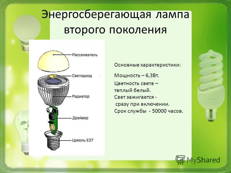 Энергосберегающая лампа второго поколения Основные характеристики: Мощность – 6,3Вт. Цветность света – теплый белый. Свет зажигается - сразу при включении. Срок службы - 50000 часов.